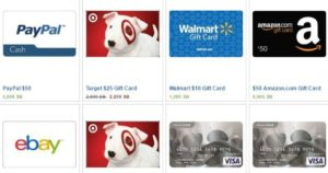 gift cards offered on swagbucks website